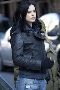 Krysten Ritter on the set of Jessica Jones